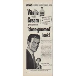 "1950 Vitalis Ad ""clean-groomed look"""