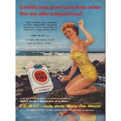 "1950 Lucky Strike Cigarettes Ad ""Scientific tests"""