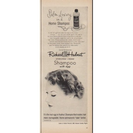 "1950 Richard Hudnut Shampoo Ad ""Salon Luxury"""
