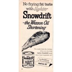 """1953 Wesson Oil Ad """"Snowdrift Shortening"""""""