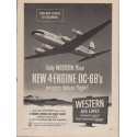 "1953 Western Air Lines Ad ""4-Engine DC-6B"""