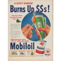"1950 Mobiloil Ad ""A Dirty Engine"""