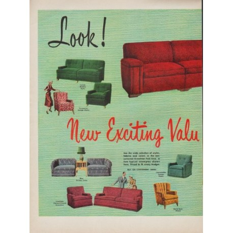 "1950 Kroehler Ad ""New Exciting Values"""