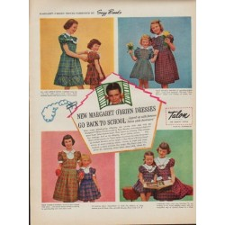 "1950 Talon Zipper Ad ""Margaret O'Brien Dresses"""