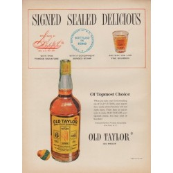 "1950 Old Taylor Ad ""Signed Sealed Delicious"""