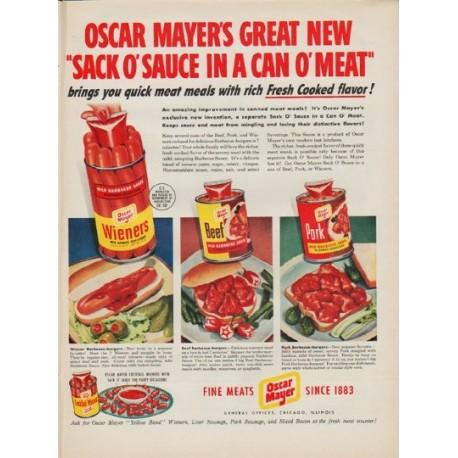 "1950 Oscar Mayer Ad ""Sack O' Sauce"""