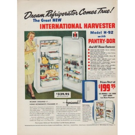 "1950 International Harvester Ad ""Dream Refrigerator"""