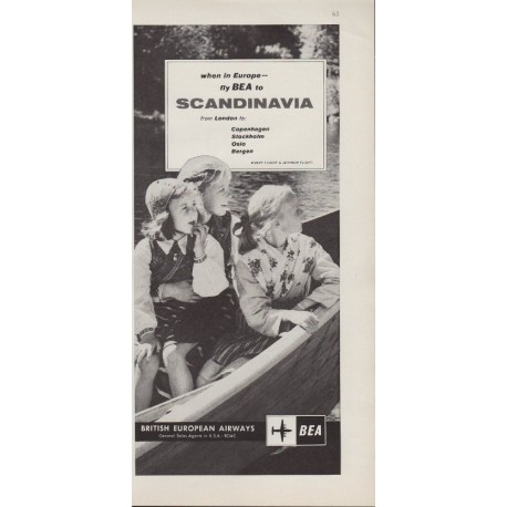 "1959 British European Airways Ad ""To Scandinavia"""