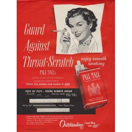 "1950 Pall Mall Ad ""Throat-Scratch"""