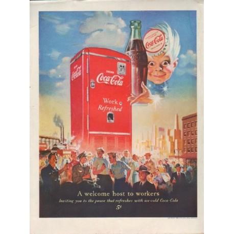 "1950 Coca-Cola Ad ""A welcome host"""