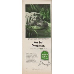 "1952 Quaker State Motor Oil Ad ""For full Protection"""