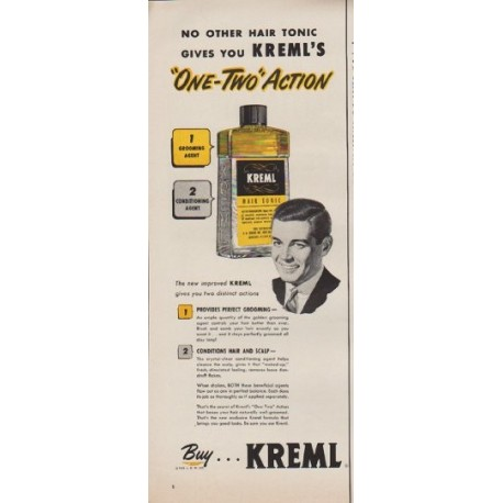 """1952 Kreml Ad """"No other hair tonic"""""""