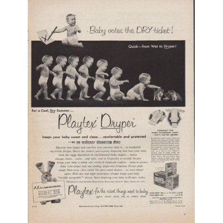 """1952 Playtex Ad """"Baby votes the DRY ticket"""""""