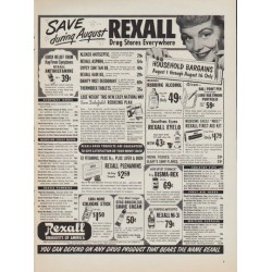 "1952 Rexall Ad ""Save during August"""
