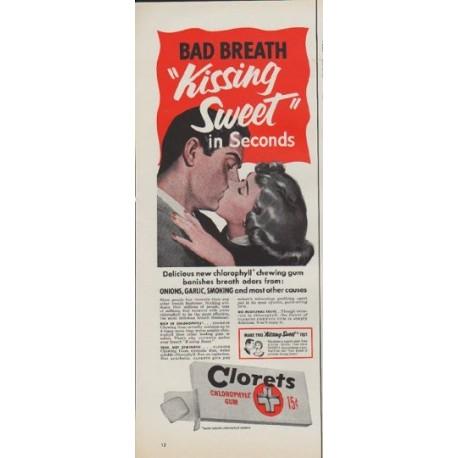"1952 Clorets Ad ""Bad Breath"""