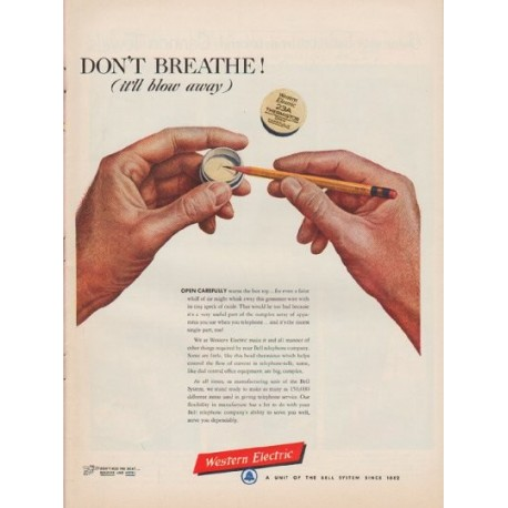 "1952 Western Electric Ad ""Don't Breathe"""