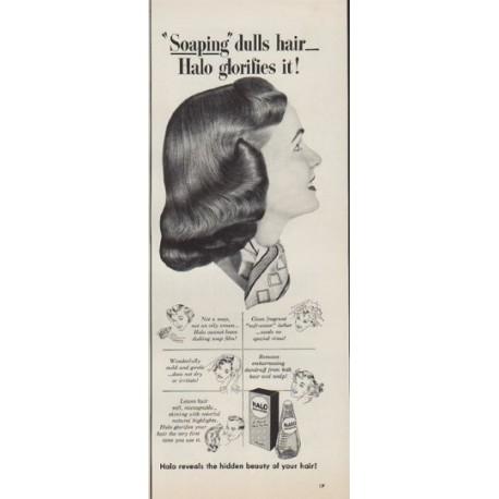 """1952 Halo Shampoo Ad """"Soaping"""""""