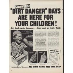 "1952 Lava Soap Ad ""Dirt Danger"""