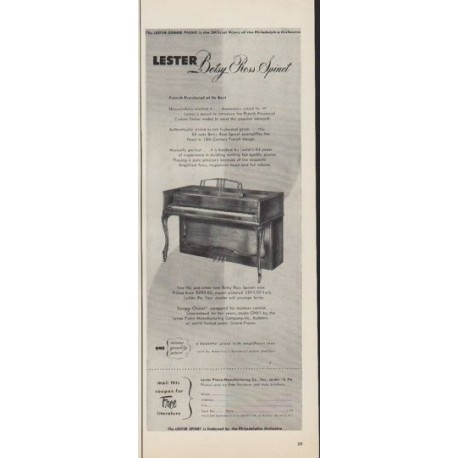 """1952 Lester Piano Ad """"Betsy Ross Spinet"""""""