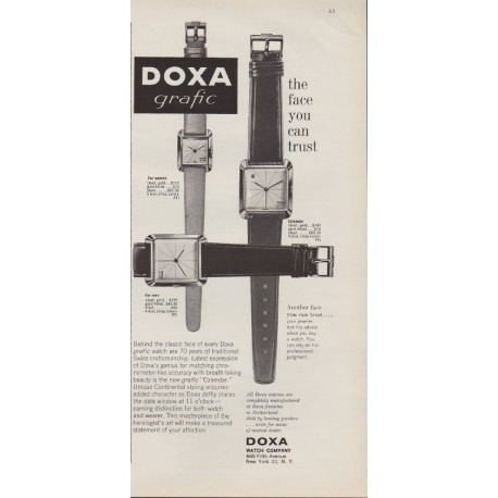 "1959 Doxa Grafic Watch Ad ""The Face You Can Trust"""