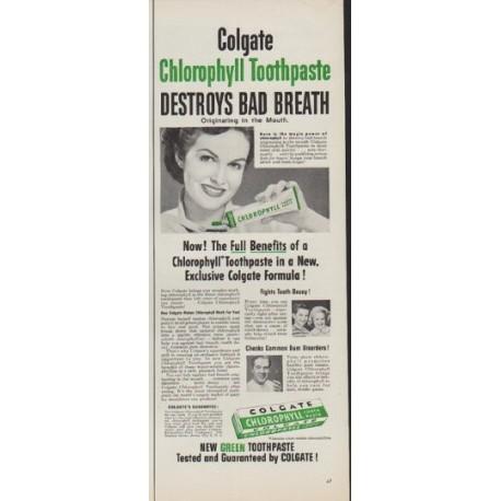 "1952 Colgate Ad ""Destroys Bad Breath"""