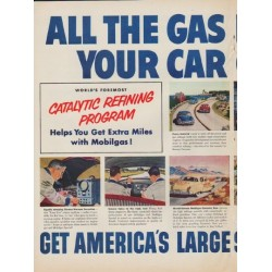 "1952 Mobilgas Ad ""All The Gas Mileage"""