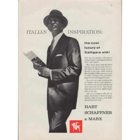 """1959 Hart Schaffner & Marx Ad """"Cattigara Silk"""""""
