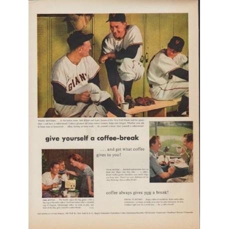 """1952 Pan-American Coffee Bureau Ad """"coffee-break"""""""