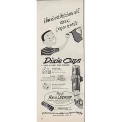 """1952 Dixie Cups Ad """"Handiest kitchen aid"""""""