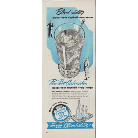 """1952 Canada Dry Ad """"Blend-ability"""""""