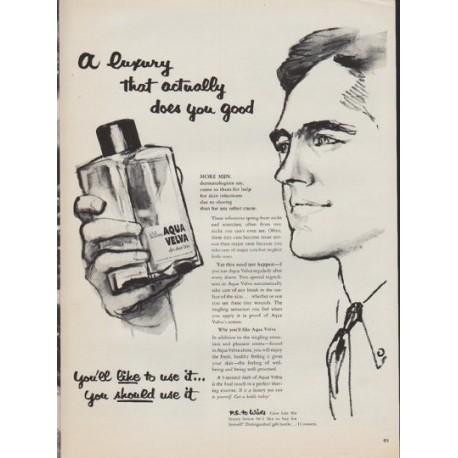 """1952 Aqua Velva Ad """"A luxury"""""""