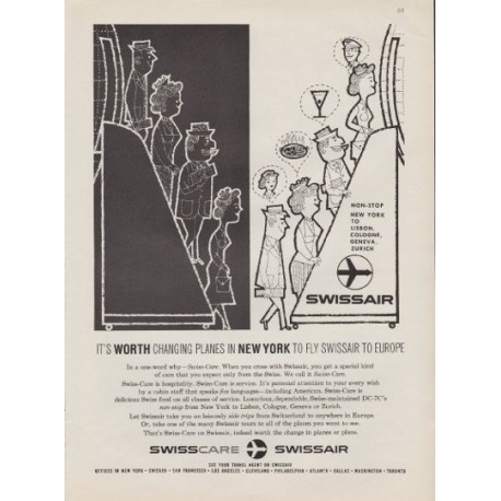 "1959 Swissair ad ""It's Worth Changing Planes"""