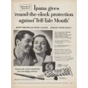"1952 Ipana Tooth Paste Ad ""round-the-clock protection"""