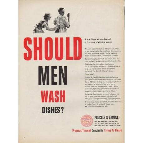 "1952 Procter & Gamble Ad ""Should Men Wash Dishes?"""