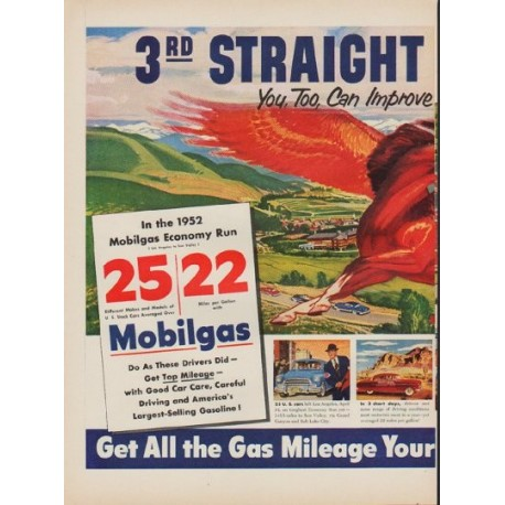 """1952 Mobilgas Ad """"Year Of Proof"""""""