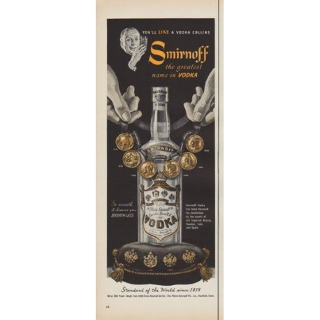 "1952 Smirnoff Vodka Ad ""You'll Like A Vodka Collins"""