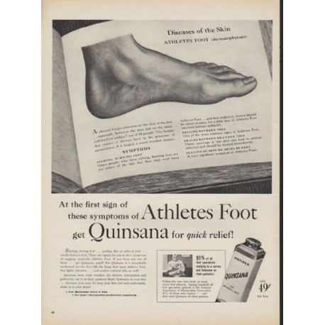"""1952 Quinsana Ad """"first sign of symptoms"""""""