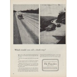 "1952 The Travelers Insurance Company Ad ""death trap"""