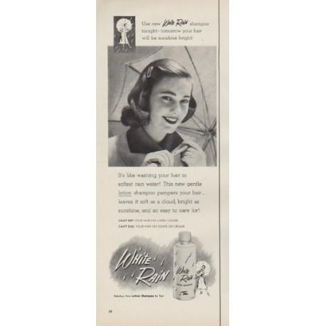 """1952 White Rain Shampoo Ad """"sunshine bright"""""""