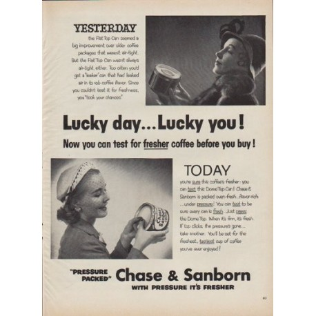 """1952 Chase & Sanborn Ad """"Lucky day"""""""