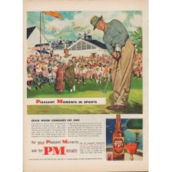 "1952 PM Whiskey Ad ""Pleasant Moments In Sports"""