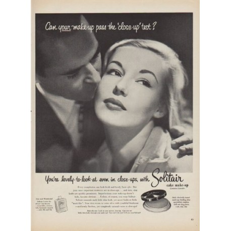 """1952 Solitair Make-Up Ad """"the """"close-up"""" test"""""""