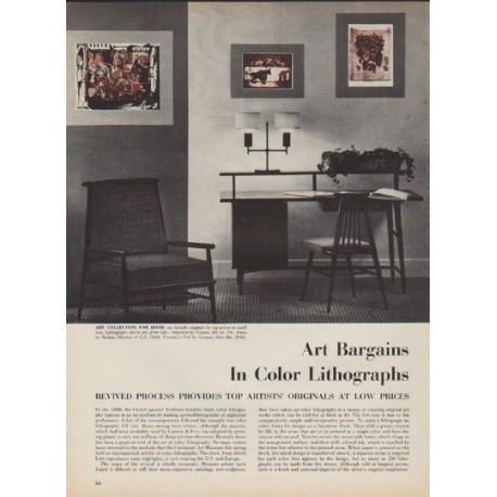 """1952 Color Lithographs Article """"Art Bargains"""""""