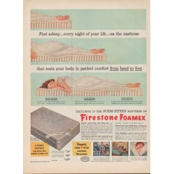 """1952 Firestone Foamex Ad """"Fast asleep"""""""