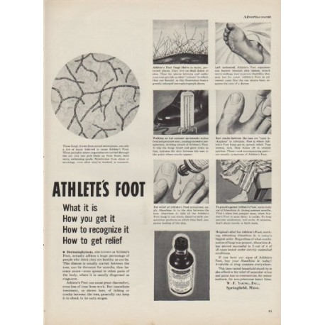 "1952 Absorbine Jr. Ad ""Athlete's Foot"""