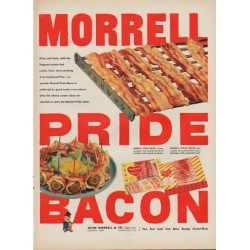 "1952 Morrell Pride Bacon Ad ""Crisp and tasty"""