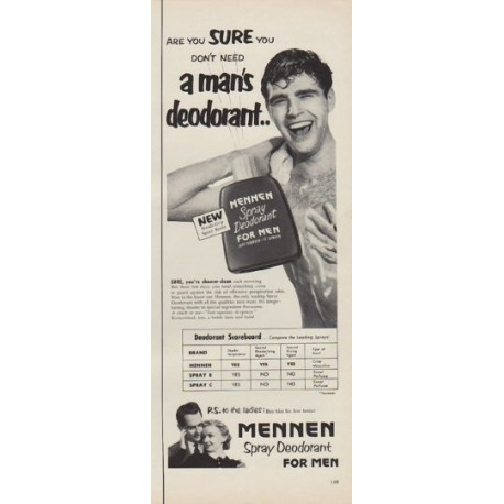 """1952 Mennen Spray Deodorant Ad """"Are You Sure"""""""