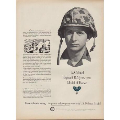 """1952 U.S. Defense Bonds Ad """"Lt. Colonel Reginald R. Myers"""""""