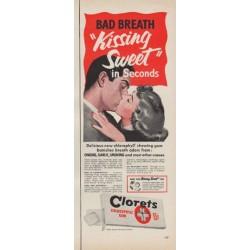 "1952 Clorets Chlorophyll Gum Ad ""Kissing Sweet"""