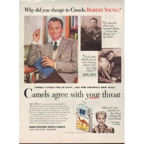 """1952 Camel Cigarettes Ad """"Robert Young"""""""